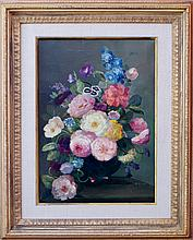 PAIR FLORAL STILL LIFE OIL ON CANVAS PAINTINGS SIGNED M. RICE