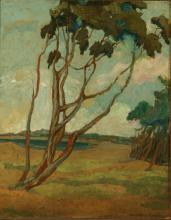 AN EARLY 20TH C. ARTS AND CRAFTS INFLUENCE OIL ON PANEL
