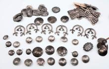 LARGE LOT OF SILVER CONCHOS, BUTTERFLIES & BUTTONS
