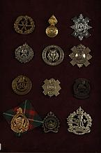 TWELVE BRITISH CAP BADGES CAMERON HIGHLANDERS, MORE