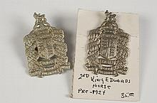 TWO 2ND KING EDWARD'S HORSE BADGES, ONE PRE-1924