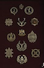 THIRTEEN BRITISH CAP BADGES BLACK WATCH, ROYAL SCOTS GREYS