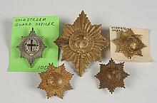 FIVE COLDSTREAM GUARDS BADGES INCL OFFICER