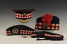 FOUR SCOTTISH GLENGARRY AND VISOR CAPS