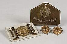 SCOTS GUARDS BELT BUCKLE, PLATE, AND TWO CAP BADGES