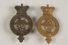 TWO 2ND WARWICKSHIRE GLENGARRY CAP BADGES, ONE VICTORIAN