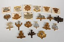 TWENTY BRITISH COUNTY REGIMENT CAP BADGES