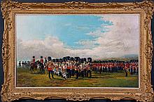19TH C. MOUNTED SCOTTISH REGIMENTAL PARADE OIL ON CANVAS