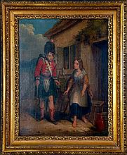 1865 OIL ON CANVAS W SCOTTISH SOLDIER & YOUNG WOMAN