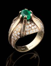 A VINTAGE BRAZILIAN EMERALD AND DIAMOND COCKTAIL RING