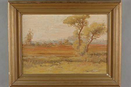 ETHEL EVANS (1866 - 1929) OIL ON CANVAS LANDSCAPE