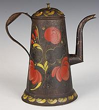 19TH CENTURY AMERICAN TOLE WARE COFFEE POT