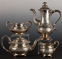 FOUR PIECE OLD SHEFFIELD PLATE TEA AND COFFEE SERVICE
