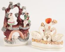 TWO 19TH C. STAFFORDSHIRE POTTERY FIGURES