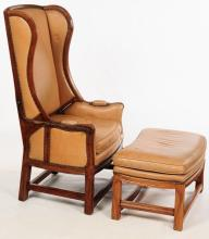 ANTIQUE METAMORPHIC RECLINING WING CHAIR WITH FOOT