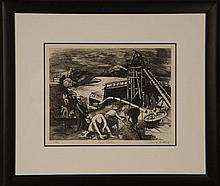HARRY GOTTLIEB (1895-1993) 1937 PENCIL SIGNED ETCHING