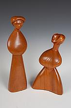 CECIL CARSTENSON CARVED WOOD MAN AND WOMAN FIGURALS