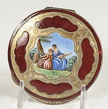 ENAMELED COMPACT WITH HAND PAINTED SCENE