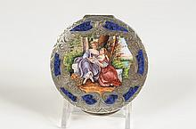 CHAMPLEVÉ COMPACT WITH A VERY FINE PAINTED SCENE