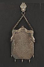 GERMAN SILVER ARMOR MESH BAG WITH BELT CLIP