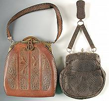 1896 LEATHER PURSE & CA 1939 TOOLED LEATHER PURSE