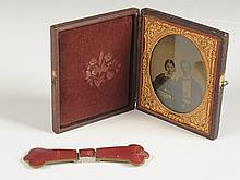 GUILLOCHE BELT BUCKLE & A FRAMED DAGUERREOTYPE