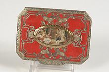 CHAMPLEVÉ ENAMEL COMPACT W A MINIATURE UNDER GLASS