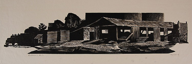LYND WARD (1905-1985) PENCIL SIGNED BLOCK PRINT