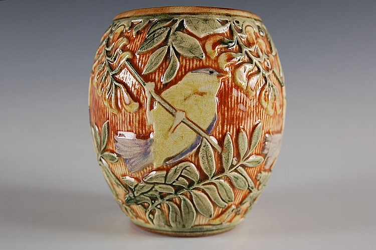 WELLER GLENDALE HIGH GLOSS ART POTTERY VASE WITH BIRD