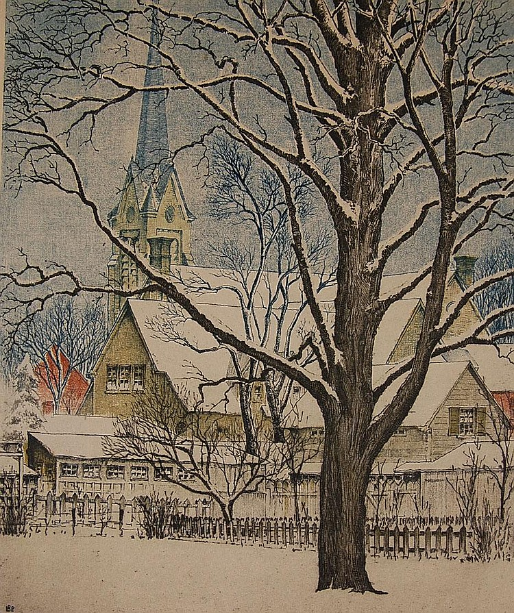 LEON PESCHERET (1892-1971) PENCIL SIGNED COLOR ETCHING