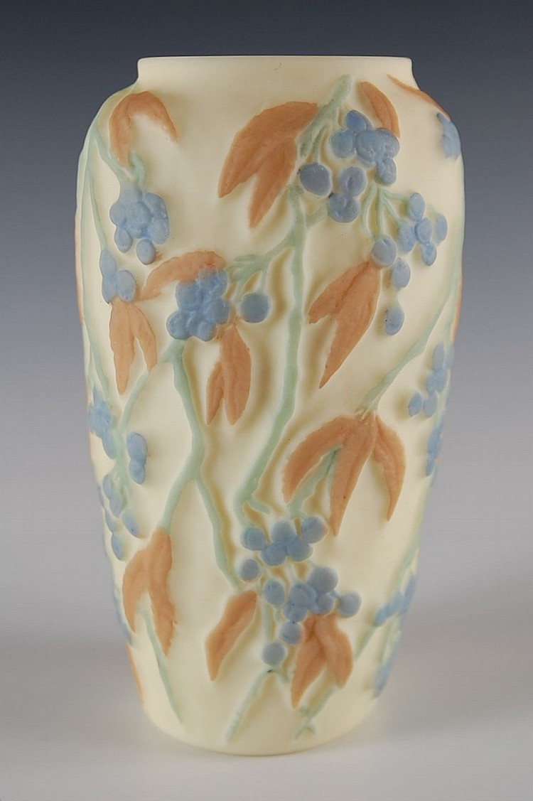 PHOENIX CONSOLIDATED ART GLASS VASE, BITTERSWEET PATTERN