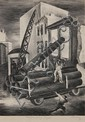 RUTH CHANEY (AMERICAN, 20TH C.) PENCIL SIGNED LITHOGRAPH 'UNLOADING PIPE'