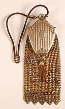 WHITING & DAVIS ENAMELED MESH BAG WITH COMPACT