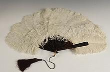 TWO VINTAGE FEATHER FANS WITH CELLULOID HANDLES