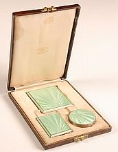 THREE PIECE GUILLOCHE & STERLING VANITY SET W BOX