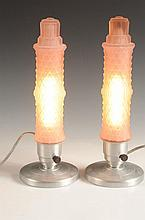 PAIR OF ART DECO PINK SATIN VANITY LAMPS