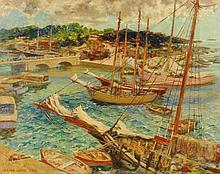 GERALD LEAKE (1885-1975) OIL ON CANVAS 'BARBADOS #2'