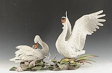 LARGE BOEHM PORCELAIN FIGURES OF MUTE SWANS