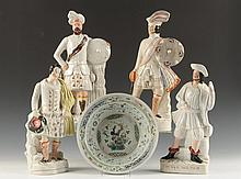 FIVE 19TH C. STAFFORDSHIRE POTTERY FIGURES