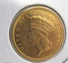 1854 US 3 DOLLAR GOLD COIN UNC