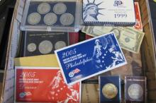 COINS AND SETS AND NOTES BOX LOT.