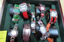 BOX OF 9 FASHION LADIES WRIST WATCHES