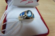 14K GOLD RING TOPAZ DIAMOND OPAL
