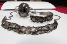 3pc Many Goats Sterling Necklace & 2 Bracelets
