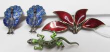 Enamel Sterling Silver Peacock Earrings DA Lizard