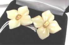 22k Alaska Gold Nugget Ivory Sterling Earrings