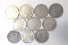 10 SILVER DOLLARS MORGAN & PEACE