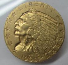 1909 US $5 GOLD INDIAN COIN