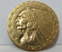 1910 $2.50 GOLD COIN US INDIAN