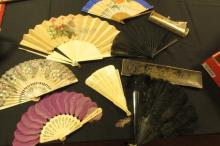 8 Fans: Antique Ivory, Cloth, Bone & Feather